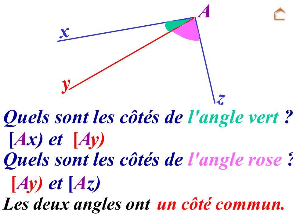Quels sont les côtés de l angle vert [Ax) et [Ay)